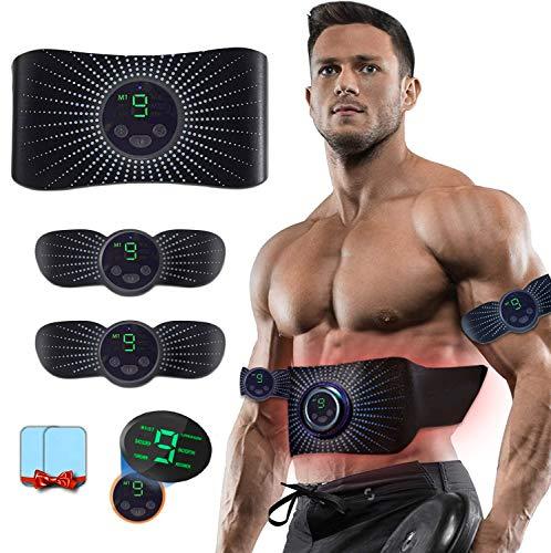 Moonssy Electroestimulador Muscular Abdominales Aparatos para Hacer Ejercicio casa,Abdominales electroestimulacion,USB Recargable EMS Estimulador,Gym en casa,Tóner Muscular Cinturones,Pantalla LCD
