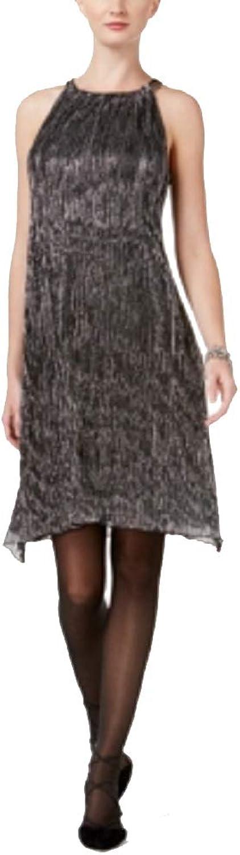Alfani Womens Petite Metallic Halter Dress