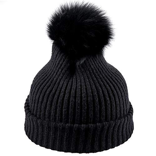 kyprx Zustrom von Menschen Sonnenschutzkappe Winter Wollmütze Mode Strickmütze warme Mütze niedlichen Haarball Kappe grau einstellbar