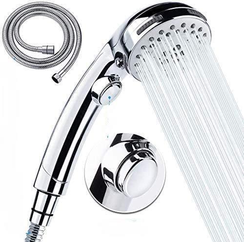 Tarnel Soffione doccia con tubo flessibile con 6 tipi di getto soffione doccia con tubo flessibile da 1,5 m