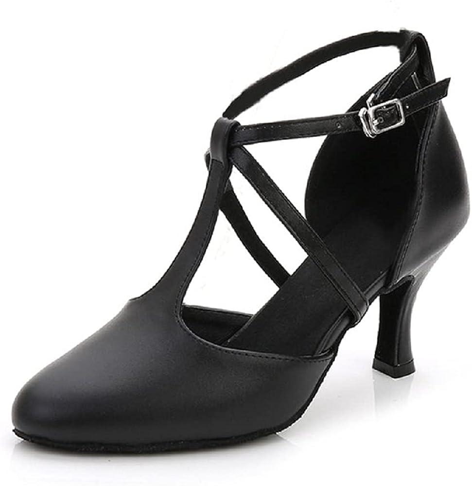 Flats Dance Shoes Women Low Heel Genuine Leather Pumps T-Strap Latin Ballroom Salsa Shoes,1