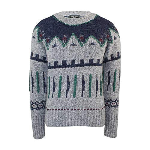 Roberto Collina Womens Fair Isle Sweater Gray Extra Small