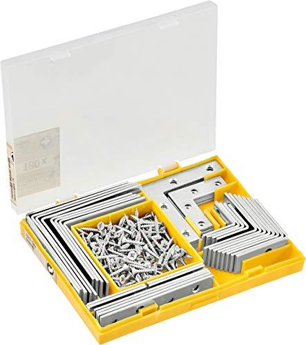 Connex Winkel- & Verbindungsbleche 180-teilig - Stuhlwinkel, Möbelwinkel & Flachverbinder - Verzinkter Stahl - Optimal für DIY-Möbel / Winkelverbinder / Eckverbinder / Befestigungswinkel / HV4560