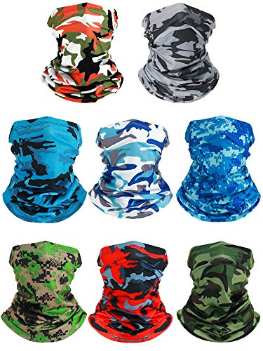 8 Pieces Summer UV Protection Neck Gaiter Scarf Balaclava Cooling Breathable Face Cover Scarf
