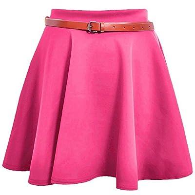 Hot Hanger Womens Belted Mini Skater Skirt 8-14