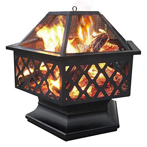 Yaheetech sechseckige Feuerschalen für den Garten Terrasse Feuerschale Ø 61cm Feuerkorb mit Funkenschutz und Schürhaken, Metall Feuerstelle für Camping und Sommerparty