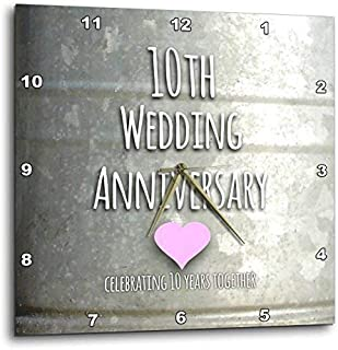 3dRose DPP_154441_1 10Th Wedding Tin Celebrating 10 Years Together Tenth Anniversaries Ten Yrs Wall Clock, 10 by 10-Inch
