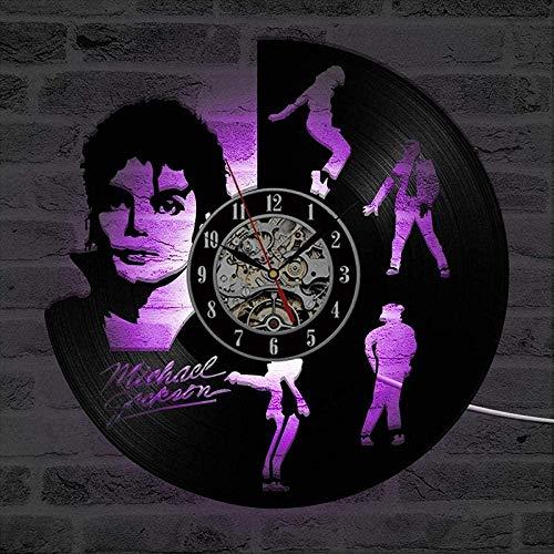 YDDLIE Reloj de Vinilo Dancing Jackson Reloj de Pared con Registro de Vinilo LED Diseño Moderno Reloj de Pared con Cambio de LED de 7 Colores Decoración del hogar