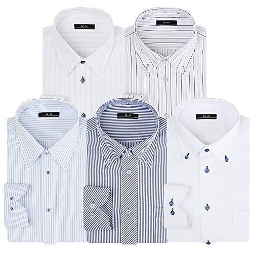 [アトリエサンロクゴ] ワイシャツセット ワイシャツ 5枚セット 形態安定 長袖Yシャツ ワークシャツ ビジネスワイシャツ at101 メンズ AT101-Eset 首回り39裄丈82 Regular