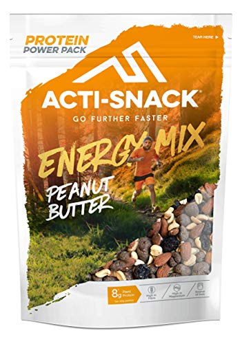 ACTI-SNACK Peanut Butter Energy Trail Mix Powerpack. Sports Nutrition Snacks. Dark Chocolate Peanut Butter Peanuts, Roasted Almonds, Sour Cherries. High in Plant Protein. Vegan. 12 x 175g