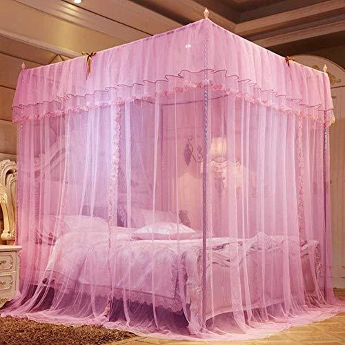 Piner Europese stijl klamboe groot tweepersoonsbed gaas 4 hoek klamboe meisjeskamer decor romantisch hangend bed volant, roze, 1.8x2.2m bed
