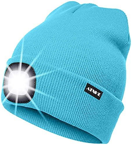 ATNKE LED beleuchtete Mütze, wiederaufladbare USB-Laufmütze mit extrem Heller 4-LED-Lampe und Blinkender Alarmscheinwerfer (Hell Blau, Einheitsgröße)