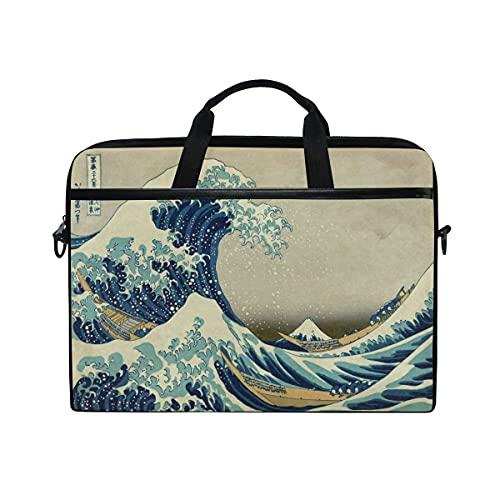 Bolsa para computadora portátil Ocean Japanese Wave Travel Notebook Bag Hombro Messenger Bag 14 Pulgadas Funda para computadora portátil