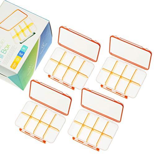 Pillendose Pillenbox Tablettenbox mit 8 Abnehmbare Fächer Transparente Medikamentenbox mit Klappdeckel für Urlaub Reisen Täglichen Morgens Mittags Abends SOMELINE Tragbare Pillendose 4 Stück
