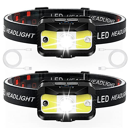 Headlamp Rechargeable, JNDFOFC 1200 Lumen Ultra Bright LED Head Lamp flashlight with White Red Light, 2 PACK Motion Sensor Waterproof Headlight, 8 Modes Head Lights for Outdoor Camping Fishing Running