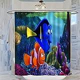 DRAGON VINES Findet Nemo Dory Marlin Duschvorhang, 183 x 183 cm, wasserdicht, mit 12 Kunststoffhaken, waschbarer Badvorhang