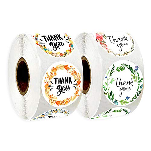 1000pcs Thank You Stickers, 1 inch Floral Self Adhesive Stickers lables Decorative Sealing Stickers for Christmas Gifts, Wedding, Party, Online Sale, Retail Bag, 2 Roll (16 Designs)