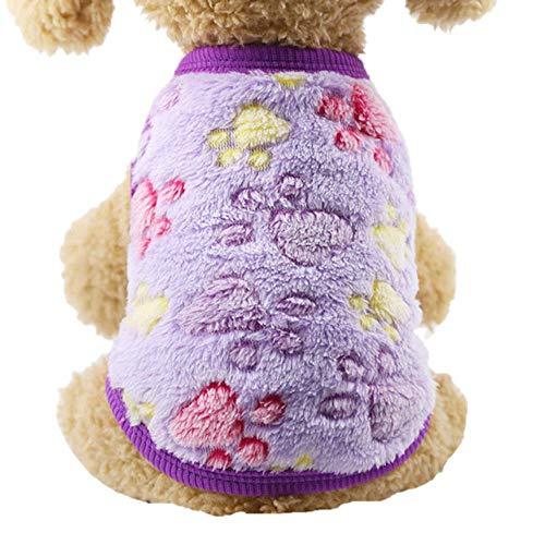 PONNMQ Vêtements de Petit Chien Chaud Hiver Manteau de Chien Coton Polaire Chiot vêtements Chiot Gilet vêtements Bouledogue français Chihuahua XXS-XL, Patte Pourpre, XL
