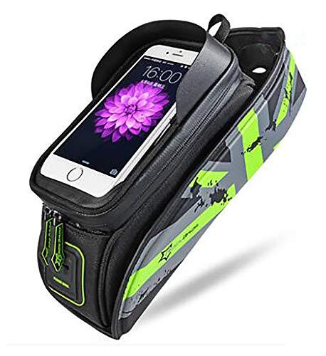 Bolsa para Cuadro Bicicleta Montaña para Smartphones de hasta 6,5'Bolsa de bicicleta,Bolsa Bicicleta Impermeable Bolsa Movil Bici con Ventana para Pantalla Táctil-6.0 pulgadas de verde 29x9x15cm