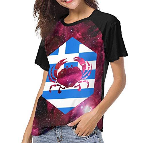 Actuallyhome Frauen Baseball Uniform mit kurzen Ärmeln T-Shirt Krebs Griechenland Griechisch Bedrucktes T-Shirt für Erwachsene Sport Wear T-Shirts Jerseys