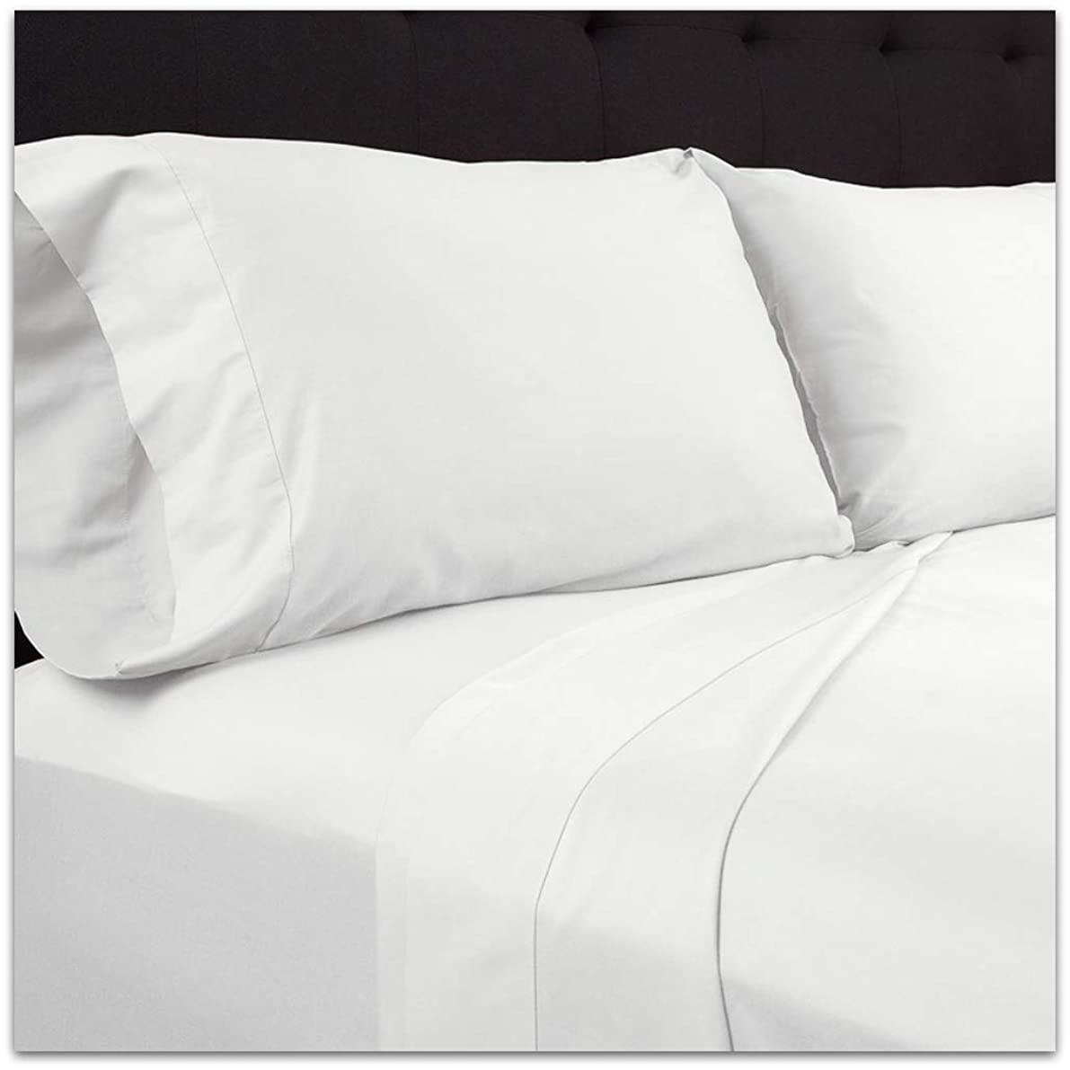 Plushy Comfort Heavy Queen Pillow Case (20 x 30 Inch) - 2 Piece in 100 Percent Egyptian Cotton White Solid