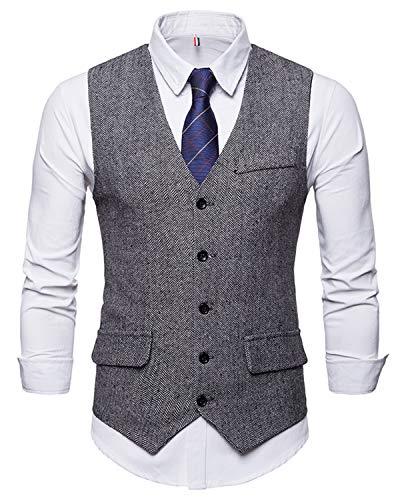 WHATLEES Herren Schmale Tweed Weste mit schmaler Knopfleiste , Ba0116-gray , M