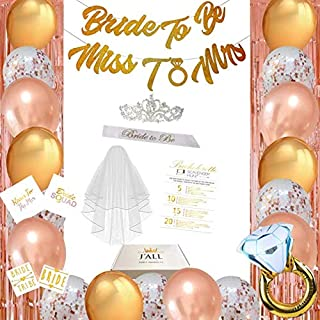 Bachelorette Party Decorations Supplies   Bridal Shower Decorations   Sash  Tiara  Veil  Ring  Rose Gold Balloons  Bride to Be Miss to Mrs Gold Banners  Foil Curtain Backdrop  Bride Tribe Tattoos