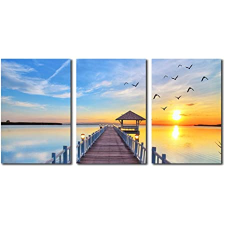 Amazon Com Cairnsi 3 Pieces Canvas Prints Wall Art Paintings Seaside Wooden Bridge And Sunset Seagulls Modern Pictures Stretched And Framed Ready To Hang For Wall Decor 12 X16 X 3 Panels Posters