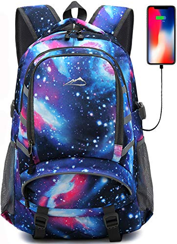 Backpack for School College Student Bookbag Travel Business with USB Charging Port Laptop Compartment Chest Straps Night Light Reflective Anti theft (Galaxy)