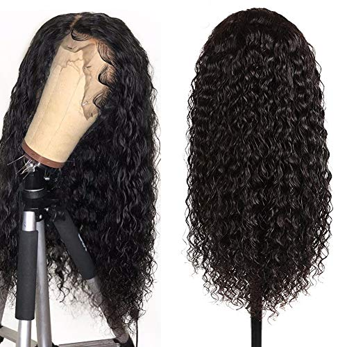 Lace Front Wigs for Black Women 100% Human Hair Water Wave 360 Lace Frontal Wigs with Baby Hair Pre Plucked Natural Hair Line 150% Density Natural Black 24 inch