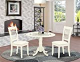 East West Furniture DLDA3-WHI-C 3Pc Dinette Set Includes a Rounded Kitchen Table with Drop Leaves and Two Vertical Slatted Fabric Seat Dining Chairs, Finish, Linen White