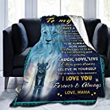 Blanket to My Son from Lion Mom,Family Love Letter Quote Art Tapestry White Fleece Blanket for Boys Adult Men,Soft Light Weight Fuzzy Throw Blankets Winter Warm Quilts for Bed Couch Sofa 80 X 60 inch