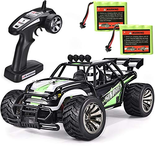 SIMREX A120 RC Cars High Speed 20MPH Scale RTR Remote Control Brushed Monster Truck Off Road Car Big Foot RC 2WD Electric Power Buggy W / 2.4G Challenger Green