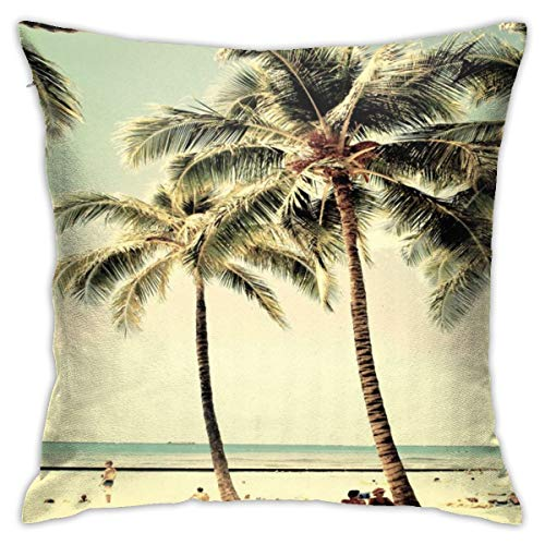 Myhou Cotton Throw Pillow Case Cushion Covers Retro Vintage Palm Tree with Hawaii Summer Sea Beach 18 x 18 Inches