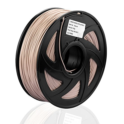 S SIENOC 1Kg LEGNO 1,75mm 3D Printer Filamento Spool 3D Materiale di stampa per stampanti (LEGNO Naturale)
