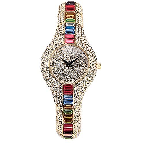Reloj de Lujo Aman Joyería para Mujer | Reloj Strass Oro Mujer Acero Inoxidable Dorado Diamantes | Reloj 30 mm Moda Oro Brillante Delgado | Reloj Pulsera Regalo San Valentín Día de la Madre (Rainbow)