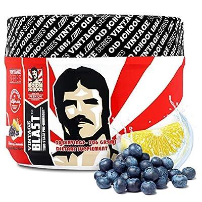 Old School Labs Vintage Blast Two-Stage Pre-Workout Energy Supplement for Men & Women, Blueberry Lemonade Flavor, 306 Grams, 20 Servings
