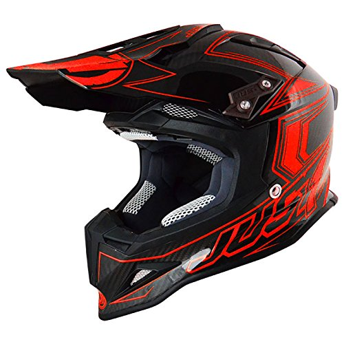 Just 1 Helmets 606320080101402 Casco J12 Carbon Fluo Rosso, XS