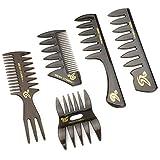 Zwini peine estilismo conjunto de 5 peine de dientes anchos anti estática peine de peluquería profesional peine conjunto para hombres niños