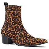 Botines Chelsea de Hombre Bota de Leopardo de Pelo de Potro con Botas de tacón con Cremallera Lateral OS-JY012-black-12