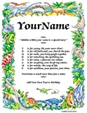 PERSONALIZED CHILDREN NAME POEM STORIES - PDF or MAIL on Thick Photo Paper 8.5X11 or 11X14 In Selectable Children's Backgrounds - Customize When Ordering (Dinosaurs 2, PDF Download To Email)