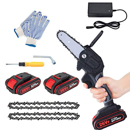 Mini Electric Chainsaw with 2 Battery and 2 Chain Saw, 4-Inch Safe and Power Cordless Electric Chainsaw, One-Handed Portable Mini Chainsaw for Tree Branch Wood Cutting and Garden (4 inch)