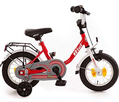 Bibi Kinderfahrrad 12 Zoll mit Rücktrittbremse und Stützrädern Fahrrad für Kinder Junge Mädchen Kinderrad Rot