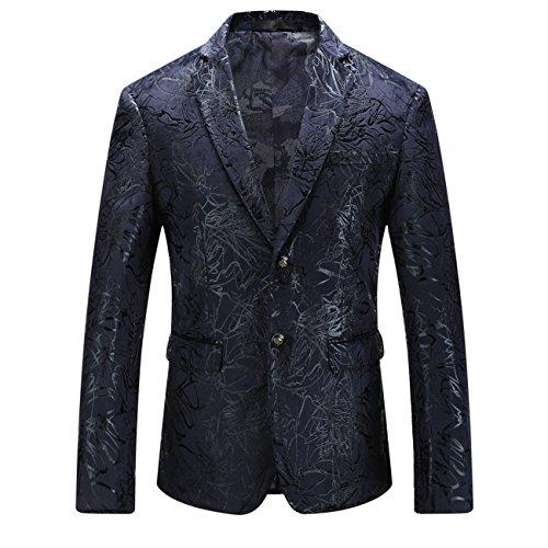 YL Männer Knopf-unten Kragen Plus Größe zurück schneiden britischen Stil Slim Fit Anzugjacken(schwarz,52)