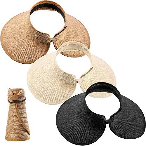 SATINIOR 3 Stücke Damen Faltbare Stroh Sonnenblende Hut Breit Rand Aufrollen Strand Hut mit Krawatte