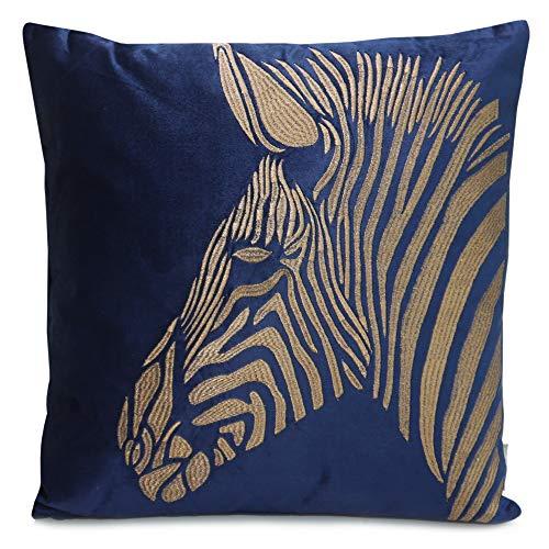 Colmore Kissen Jungle blau grün Gold Samt-Kissen Zebra - Dekorative Kissenhülle Kopfkissen Sitzkissen Dekokissen Couchkissen für Sofa Schlafzimmer 50X50cm (Blau)