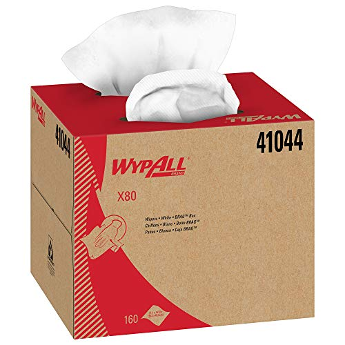 Wypall X80 Reusable Wipes (41044), Extended Use Cloths BRAG Box Format, White, 160 Sheets / Box; 1 Box / Case