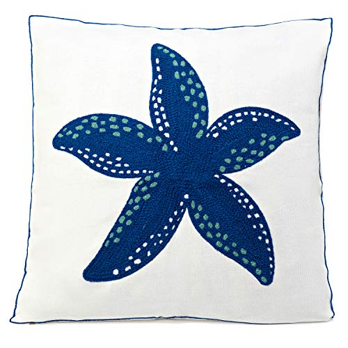 Beach Throw Pillow, Coastal Throw Pillows, Starfish Pillow Decorative Beach Pillow Cover 18 x 18 Coastal Pillow Covers Square