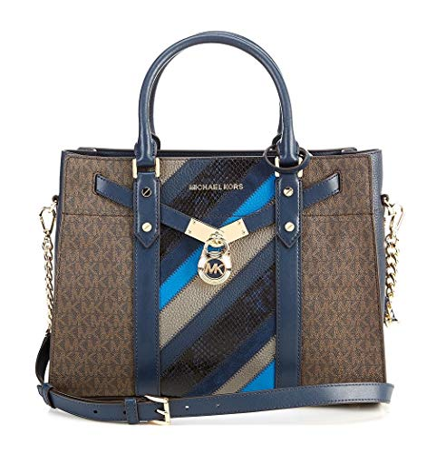 """Crafted with logo print coated canvas with leather trim Satchel with zip top closure, Handle drop: 5.5 """", Adjustable strap: 18 """"-20 """" Interior details: back zip pocket, 4 front slip pocket Exterior details: back slip pocket , Signature logo hardware ..."""