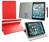 emartbuy Point of View Mobii Tab P980 9 Zoll Tablet Universal (9-10 Zoll) Rot Premium PU Leder Multi-Angle Exekutive Folio Geldbörse Tasche Hülle Grey Innenraum mit Kartensteckplätze + Rot Stylus
